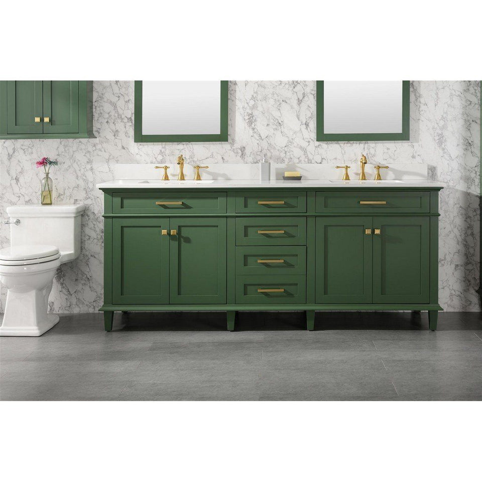 "80"" Double-Sink Vanity Cabinet with Marble Top Legion Furniture Vanities Vogue Green"