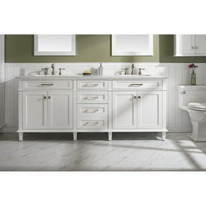 "80"" Double-Sink Vanity Cabinet with Marble Top Legion Furniture Vanities White"