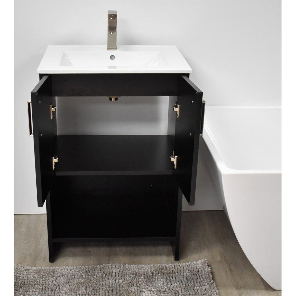 "Cabo 24"" Modern Bathroom Vanity with Integrated Ceramic Top and Brushed Nickel Handles MTD Vanities Vanities"