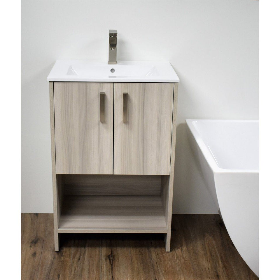 "Cabo 24"" Modern Bathroom Vanity with Integrated Ceramic Top and Brushed Nickel Handles MTD Vanities Vanities Ash Grey"