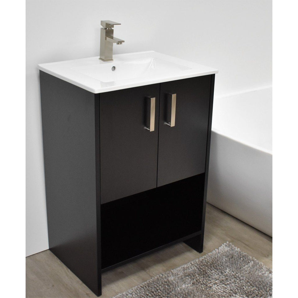 "Cabo 24"" Modern Bathroom Vanity with Integrated Ceramic Top and Brushed Nickel Handles MTD Vanities Vanities Black"