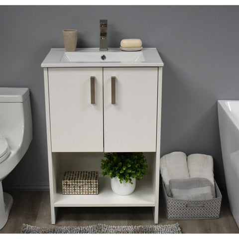 "Cabo 24"" Modern Bathroom Vanity with Integrated Ceramic Top and Brushed Nickel Handles MTD Vanities Vanities Soft White"