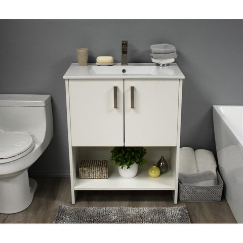 "Cabo 30"" Modern Bathroom Vanity with Integrated Ceramic Top and Brushed Nickel Handles MTD Vanities Vanities Soft White"