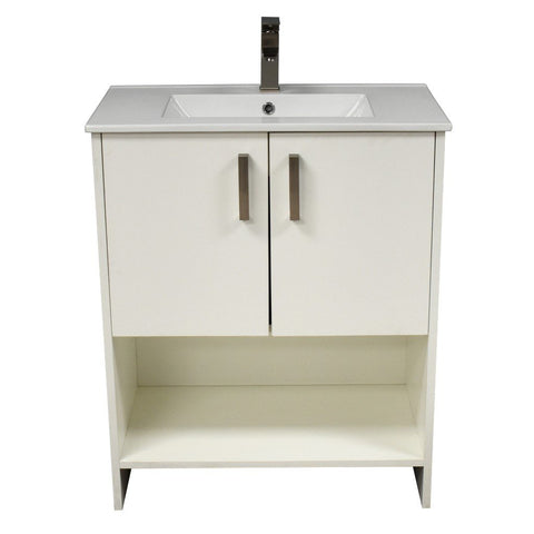 "Cabo 36"" Modern Bathroom Vanity with Integrated Ceramic Top and Brushed Nickel Handles MTD Vanities Vanities Soft White"