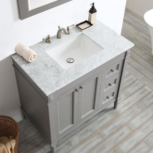"Catania 36"" Vanity in Grey with Carrara White Marble Countertop Vinnova Vanities"