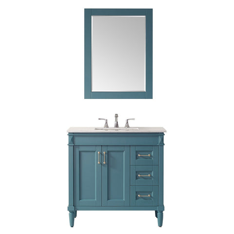 "Catania 36"" Vanity in Royal Green with Carrara White Marble Countertop Vinnova Vanities"