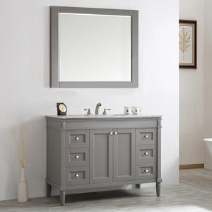 "Catania 48"" Vanity in Grey with Carrara White Marble Countertop Vinnova Vanities"