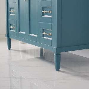 "Catania 48"" Vanity in Royal Green with Carrara White Marble Countertop Vinnova Vanities"