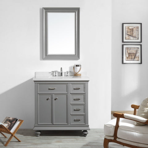 "Charlotte 36"" Vanity in Grey with Carrara Quartz Stone Top Vinnova Vanities"