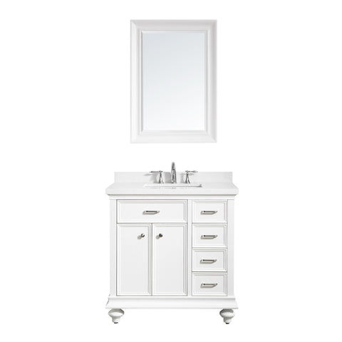 "Charlotte 36"" Vanity in White with Carrara Quartz Stone Top Vinnova Vanities"