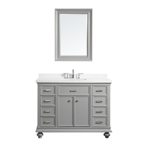 "Charlotte 48"" Vanity in Grey with Carrara Quartz Stone Top Vinnova Vanities"