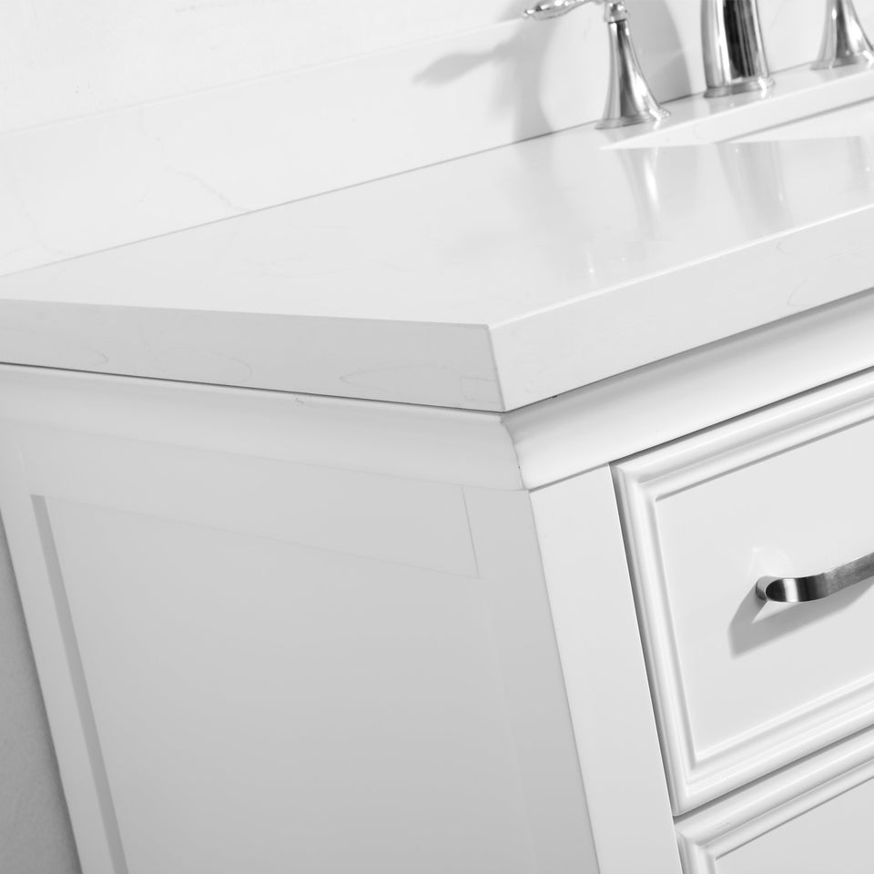 "Charlotte 48"" Vanity in White with Carrara Quartz Stone Top Vinnova Vanities"