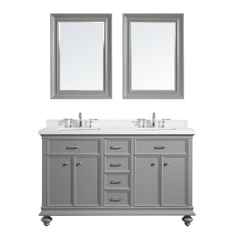 "Charlotte 60"" Double Vanity in Grey with Carrara Quartz Stone Top Vinnova Vanities"
