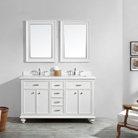 "Charlotte 60"" Double Vanity in White with Carrara Quartz Stone Top Vinnova Vanities"