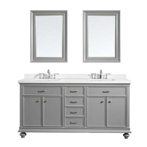 "Charlotte 72"" Double Vanity in Grey with Carrara Quartz Stone Top Vinnova Vanities"