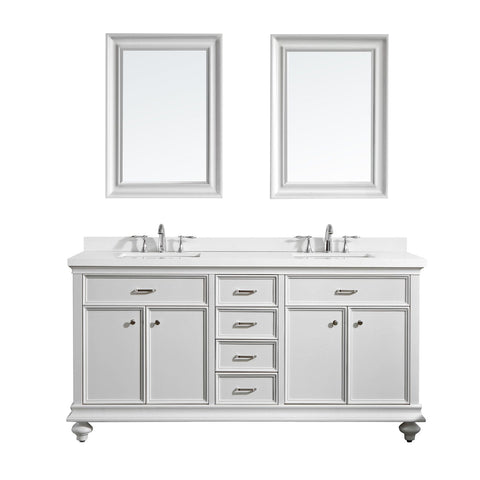 "Charlotte 72"" Double Vanity in White with Carrara Quartz Stone Top Vinnova Vanities"
