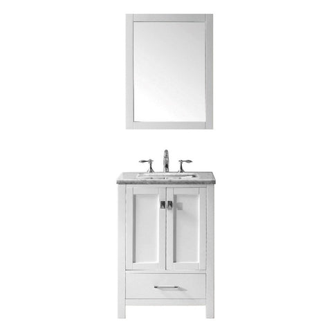 "Eviva Aberdeen 24"" Transitional Bathroom Vanity with White Carrara Marble Countertop and Undermount Porcelain Sink Eviva Vanities White"