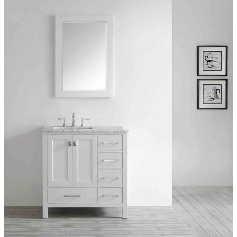 "Eviva Aberdeen 36"" Transitional Bathroom Vanity with White Carrara Marble Countertop and Undermount Porcelain Sink Eviva Vanities White"
