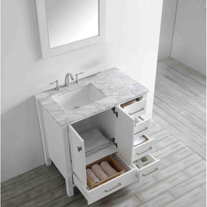 "Eviva Aberdeen 36"" Transitional Bathroom Vanity with White Carrara Marble Countertop and Undermount Porcelain Sink Eviva Vanities"