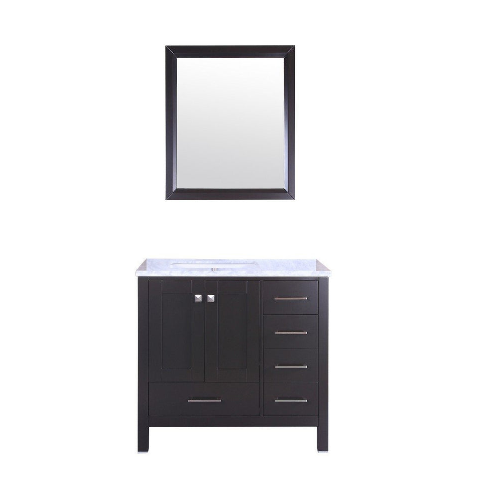 "Eviva Aberdeen 36"" Transitional Bathroom Vanity with White Carrara Marble Countertop and Undermount Porcelain Sink Eviva Vanities Espresso"