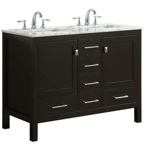 "Eviva Aberdeen 48"" Transitional Double Sink Bathroom Vanity with White Carrara Marble Countertop and Undermount Porcelain Sinks Eviva Vanities"