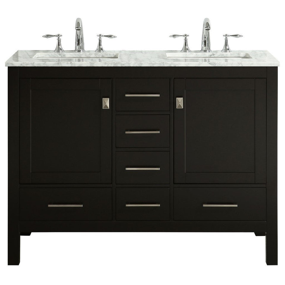 "Eviva Aberdeen 48"" Transitional Double Sink Bathroom Vanity with White Carrara Marble Countertop and Undermount Porcelain Sinks Eviva Vanities Espresso"