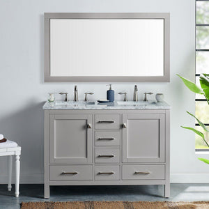"Eviva Aberdeen 48"" Transitional Double Sink Bathroom Vanity with White Carrara Marble Countertop and Undermount Porcelain Sinks Eviva Vanities Gray"