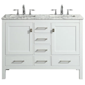 "Eviva Aberdeen 48"" Transitional Double Sink Bathroom Vanity with White Carrara Marble Countertop and Undermount Porcelain Sinks Eviva Vanities White"