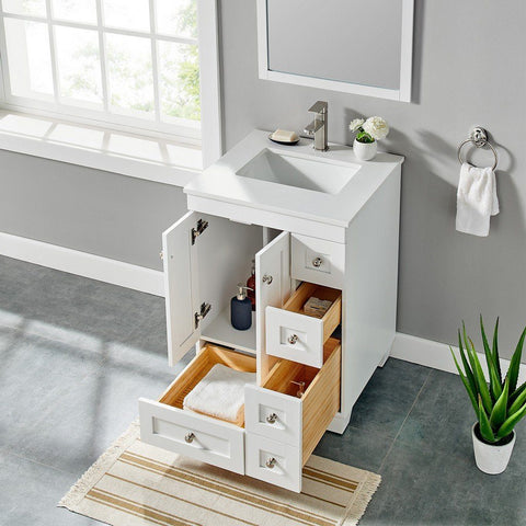 "Eviva Acclaim 24"" Transitional Bathroom Vanity with White Quartz Countertop and Undermount Porcelain Sink Eviva Vanities White"