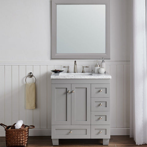 "Eviva Acclaim 30"" Transitional Bathroom Vanity with White Carrara Marble Countertop and Undermount Porcelain Sink Eviva Vanities Gray"