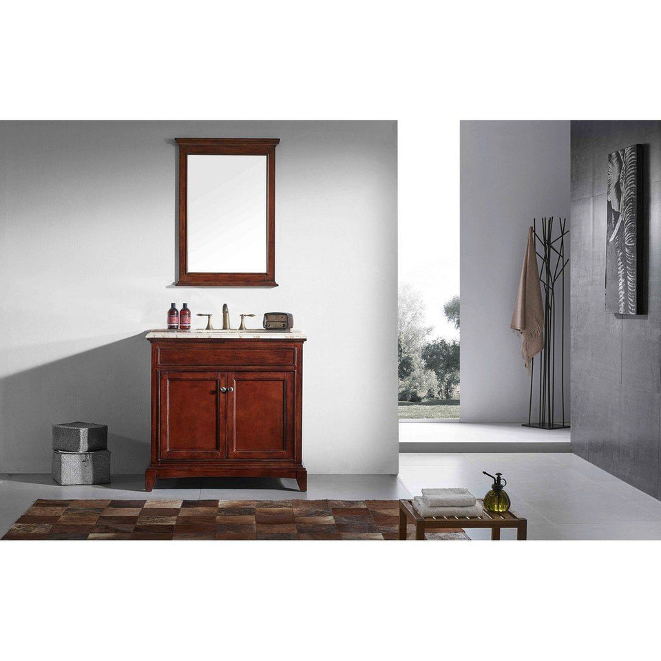 "Eviva Elite Stamford 30"" Bathroom Vanity with Double Ogee Edge Countertop and Undermount Porcelain Sink Eviva Vanities Teak"