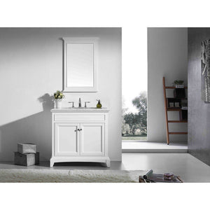 "Eviva Elite Stamford 30"" Bathroom Vanity with Double Ogee Edge Countertop and Undermount Porcelain Sink Eviva Vanities White"