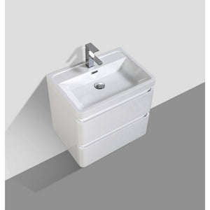 "Eviva Glazzy 24"" Glossy White Wall Mount Modern Bathroom Vanity with White Integrated Acrylic Top Eviva Vanities"