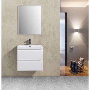 "Eviva Glazzy 24"" Glossy White Wall Mount Modern Bathroom Vanity with White Integrated Acrylic Top Eviva Vanities Glossy White"