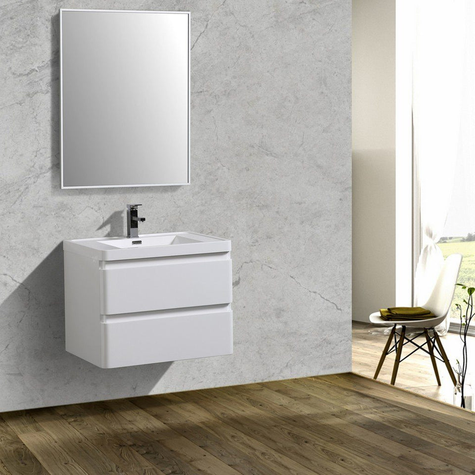 "Eviva Glazzy 28"" Glossy White Wall Mount Modern Bathroom Vanity with White Integrated Acrylic Top Eviva Vanities"