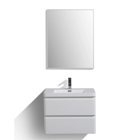 "Eviva Glazzy 30"" Glossy White Wall Mount Modern Bathroom Vanity with White Integrated Acrylic Top Eviva Vanities"