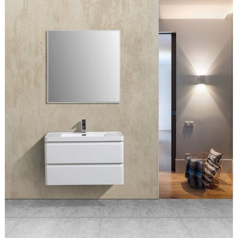 "Eviva Glazzy 36"" Glossy White Wall Mount Modern Bathroom Vanity with White Integrated Acrylic Top Eviva Vanities"