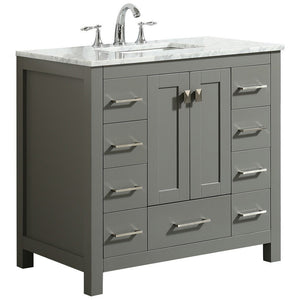 "Eviva Hampton 36"" Transitional Bathroom Vanity with White Carrara Countertop and Undermount Porcelain Sink Eviva Vanities"