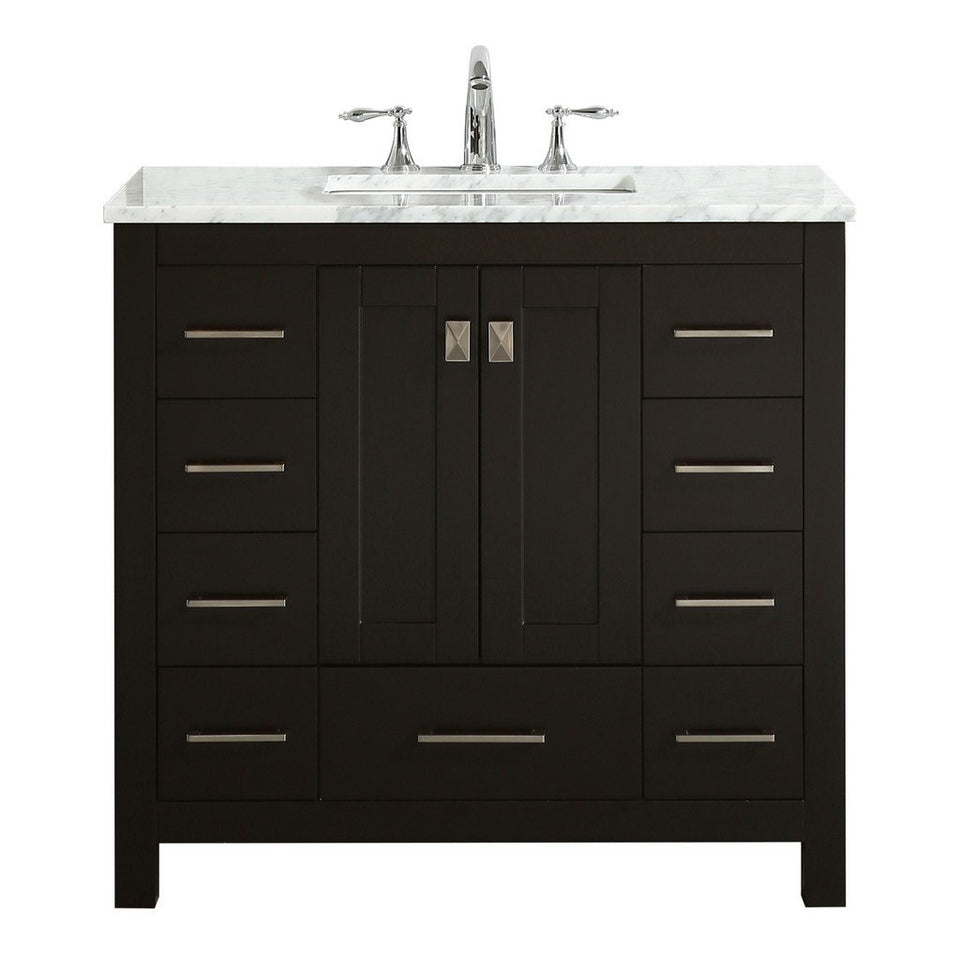 "Eviva Hampton 36"" Transitional Bathroom Vanity with White Carrara Countertop and Undermount Porcelain Sink Eviva Vanities Espresso"