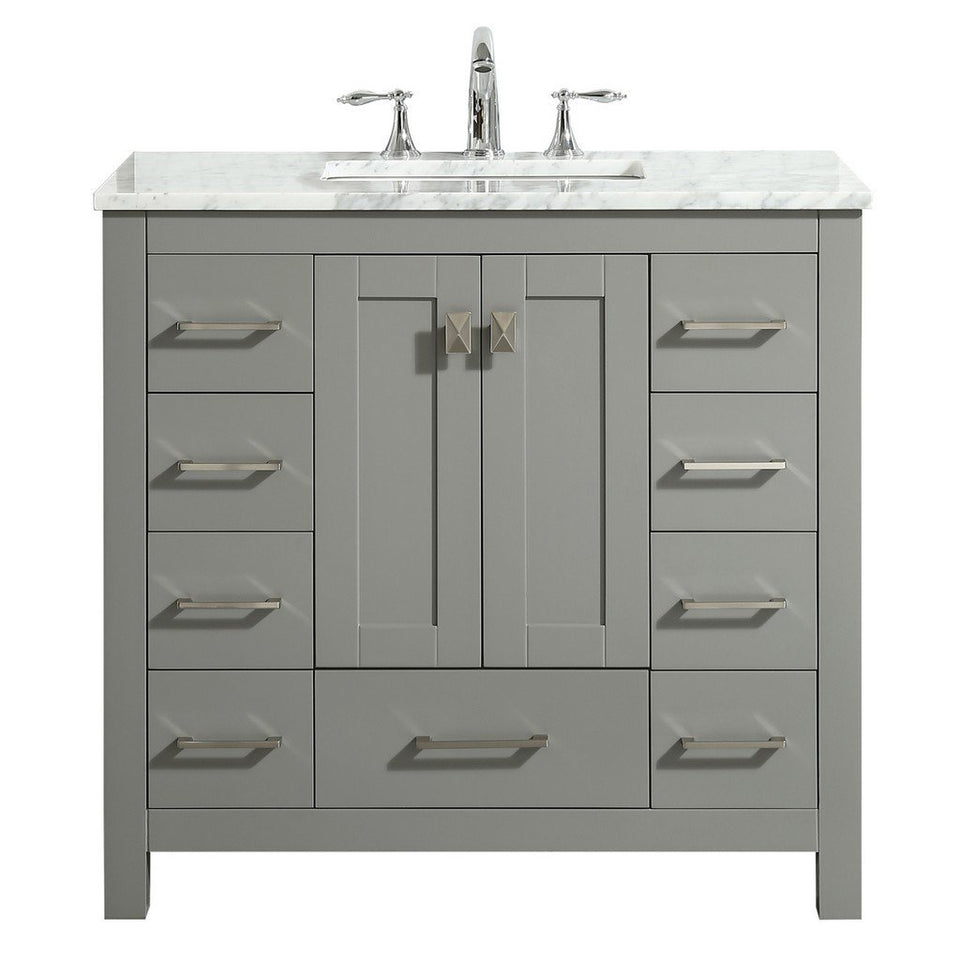"Eviva Hampton 36"" Transitional Bathroom Vanity with White Carrara Countertop and Undermount Porcelain Sink Eviva Vanities Gray"