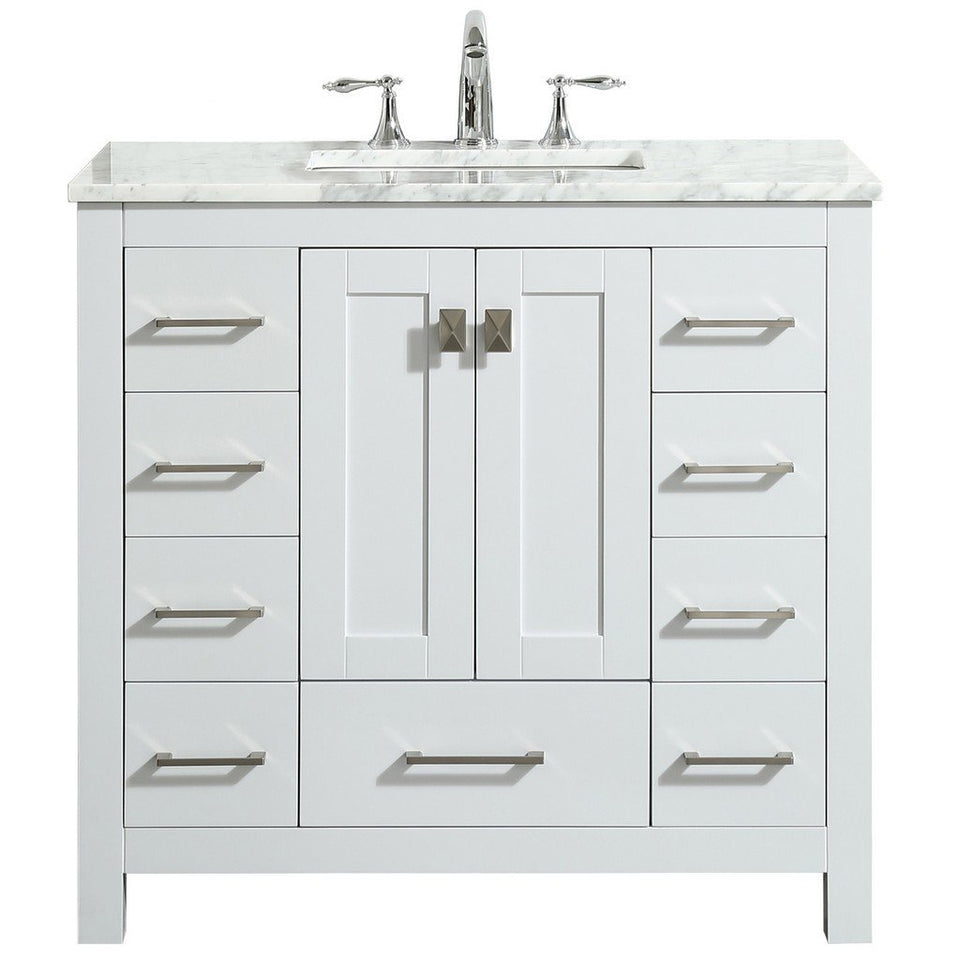 "Eviva Hampton 36"" Transitional Bathroom Vanity with White Carrara Countertop and Undermount Porcelain Sink Eviva Vanities White"