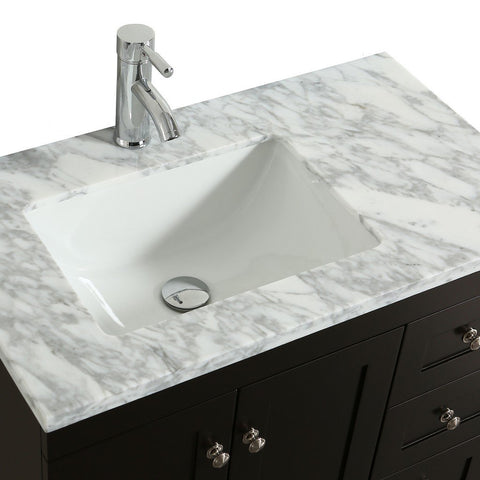 "Eviva Happy 30"" Transitional Bathroom Vanity with White Carrara Marble Countertop and Undermount Porcelain Sink Eviva Vanities Espresso"
