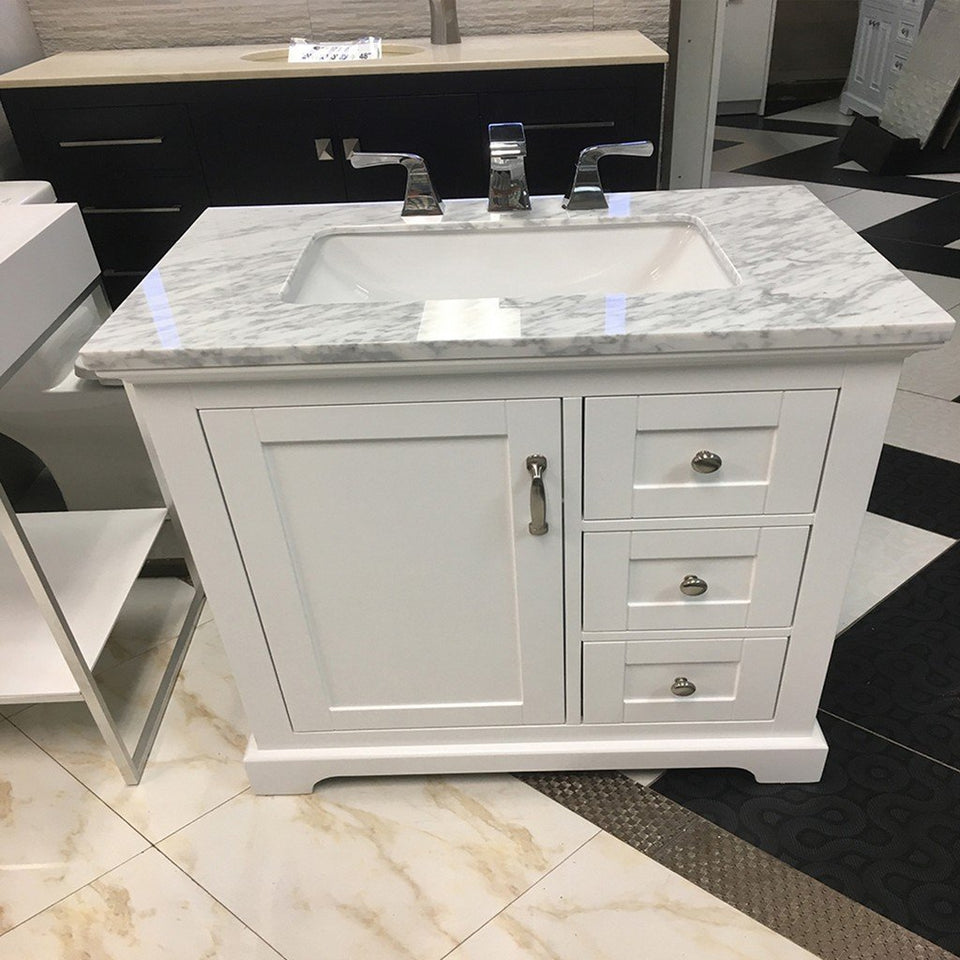 "Eviva Houston 30"" Bathroom Vanity with Double Ogee Edge White Carrara Countertop and Undermount Porcelain Sink Eviva Vanities"