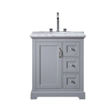 "Eviva Houston 30"" Bathroom Vanity with Double Ogee Edge White Carrara Countertop and Undermount Porcelain Sink Eviva Vanities Gray"