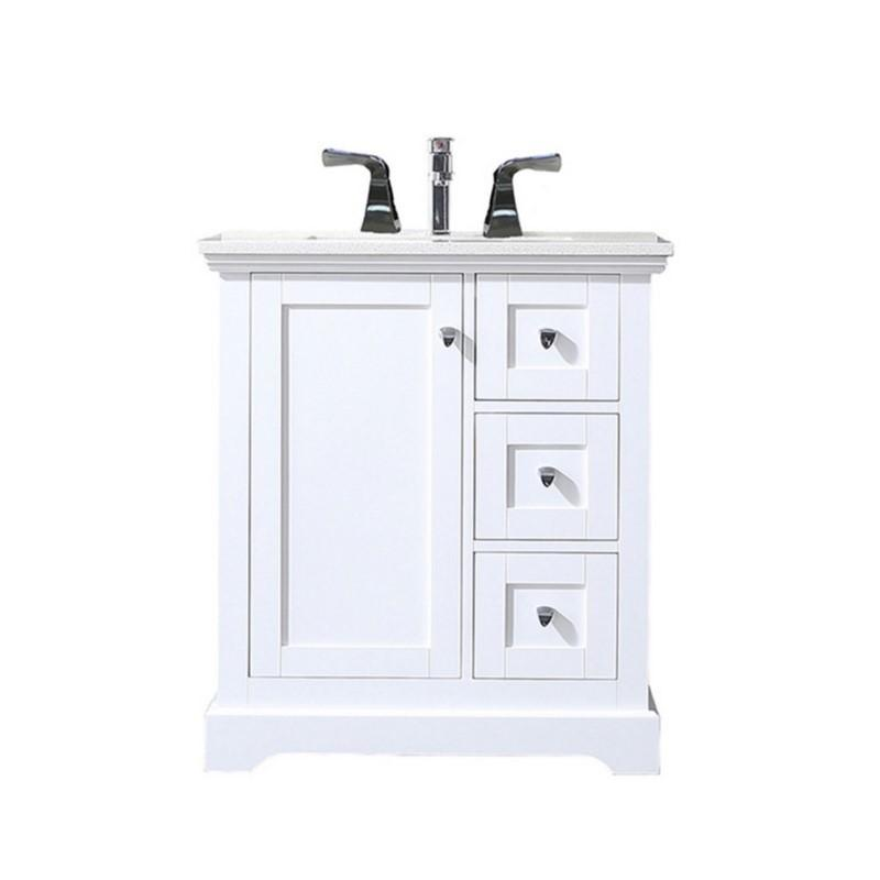"Eviva Houston 30"" Bathroom Vanity with Double Ogee Edge White Carrara Countertop and Undermount Porcelain Sink Eviva Vanities White"