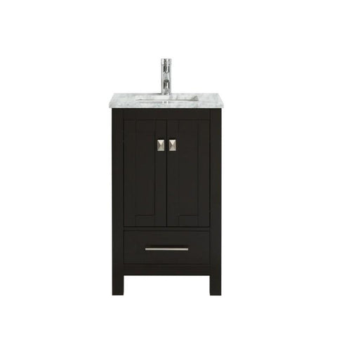"Eviva London 20 x 18"" Transitional Bathroom Vanity with White Carrara Marble Countertop and Undermount Porcelain Sink Eviva Vanities Espresso"