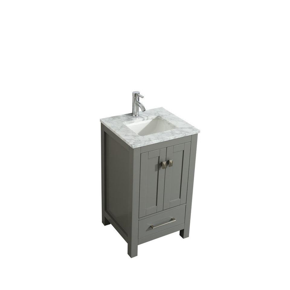 "Eviva London 24 x 18"" Transitional Bathroom Vanity with White Carrara Marble Countertop and Undermount Porcelain Sink Eviva Vanities"