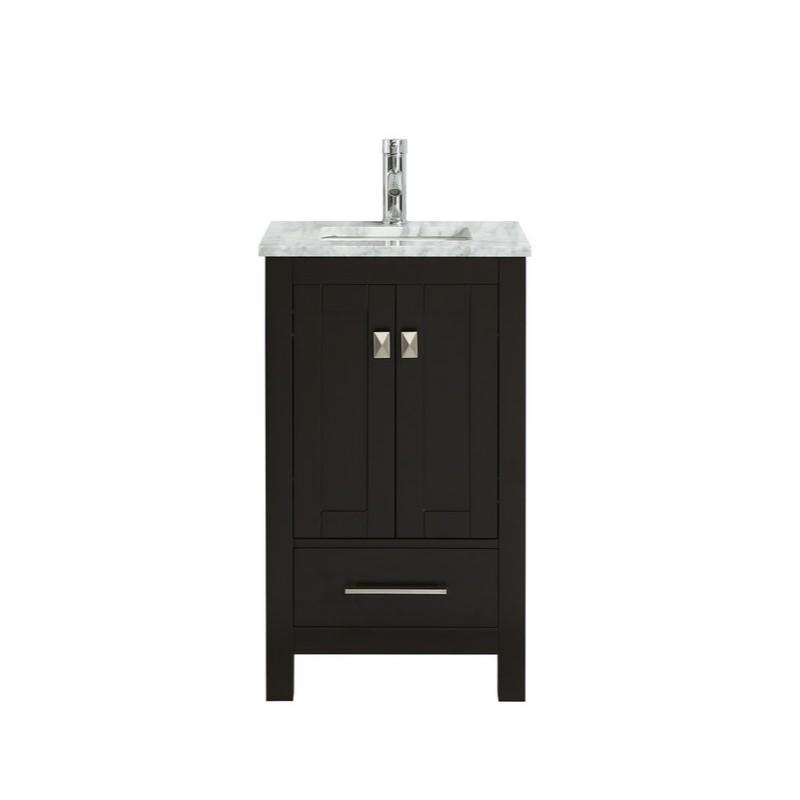 "Eviva London 24 x 18"" Transitional Bathroom Vanity with White Carrara Marble Countertop and Undermount Porcelain Sink Eviva Vanities Espresso"