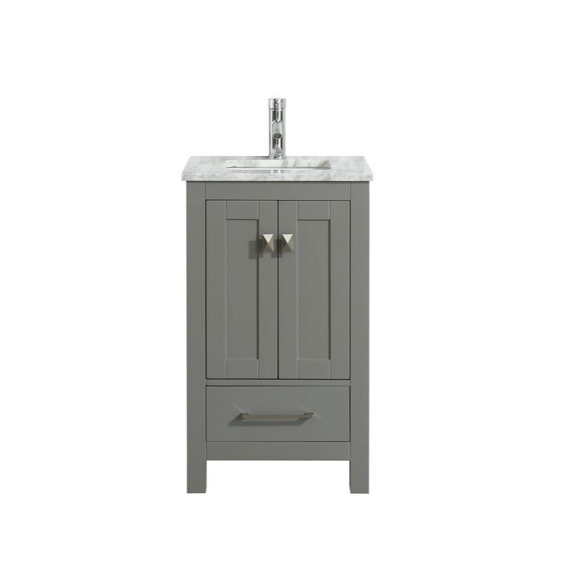 "Eviva London 24 x 18"" Transitional Bathroom Vanity with White Carrara Marble Countertop and Undermount Porcelain Sink Eviva Vanities Gray"