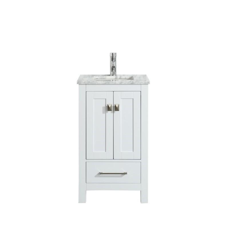 "Eviva London 24 x 18"" Transitional Bathroom Vanity with White Carrara Marble Countertop and Undermount Porcelain Sink Eviva Vanities White"